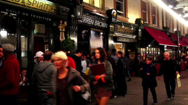 nightlife in london soho at st. martins court - outdoors stock videos & royalty-free footage