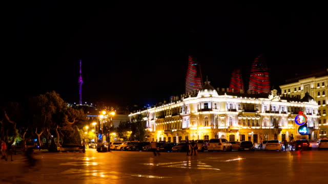 tl nightlife of the city. nice buildings with the liminosity on the background / azerbaijan, baku - baku video stock e b–roll