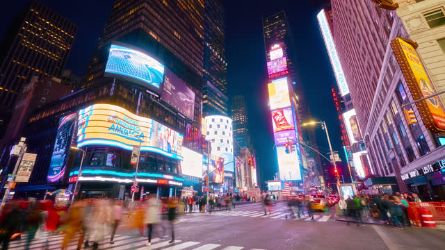 nights times squared - manhattan new york city stock videos & royalty-free footage
