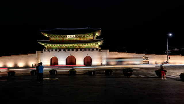 Nightscape of Gyeongbokgung Royal Palace at Gwanghwamun Square (Popular tourist attractions)