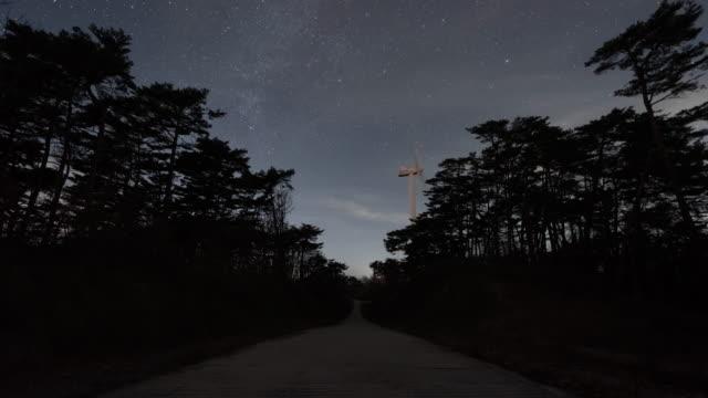 nightscape with wind turbine / gyeongsangbuk-do, south korea - nebula stock videos & royalty-free footage
