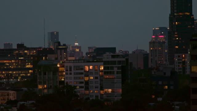 nightshot from mexico city skyline - torre latinoamericana stock videos & royalty-free footage