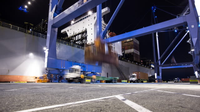 nighttime activity at the port of long beach - time lapse - port of los angeles stock videos & royalty-free footage