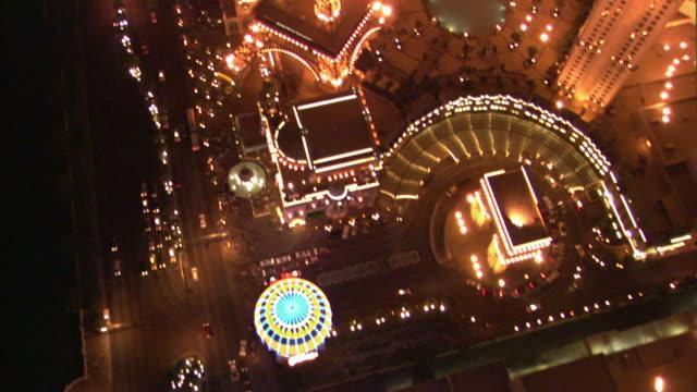 nighttime aerial looking straight down to paris casino copy of eiffel tower / las vegas, nevada, usa - las vegas replica eiffel tower stock videos & royalty-free footage