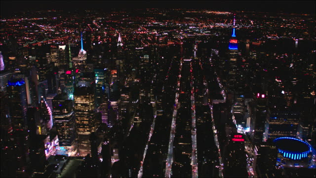 nighttime aerial view of midtown manhattan new york city - broadway manhattan stock videos & royalty-free footage