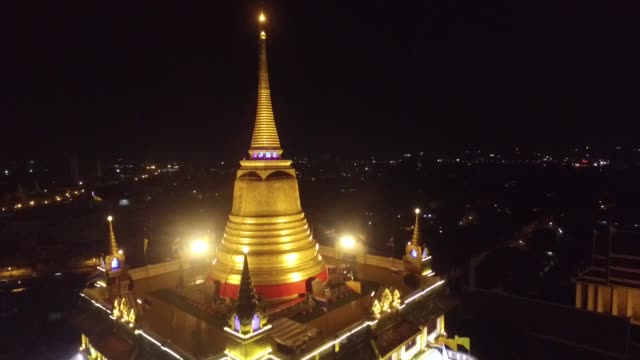 Nighttime aerial view of The Golden Mount at Wat Saket in Bangkok It is a Buddhist temple in Pom Prap Sattru Phai district Bangkok Thailand The...