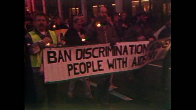 nighttime candlelit procession for aids victims in parliament square, london; 1988. - candlelight stock videos & royalty-free footage
