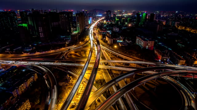 vídeos de stock, filmes e b-roll de t/l nighttime in hefei, capital city of anhui province. - time lapse de trânsito