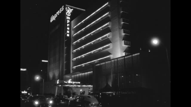 nighttime, miami, florida in the 1950s including traffic and a close up on a city street. - 1950 stock videos & royalty-free footage