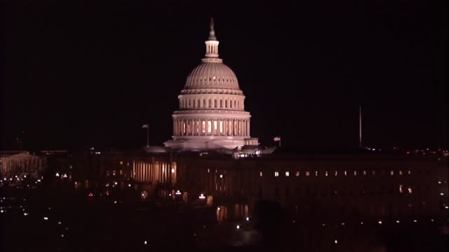 Nighttime shot of the United States Capitol after President Donald Trump delivered his first State of the Union address to a Joint Session of...