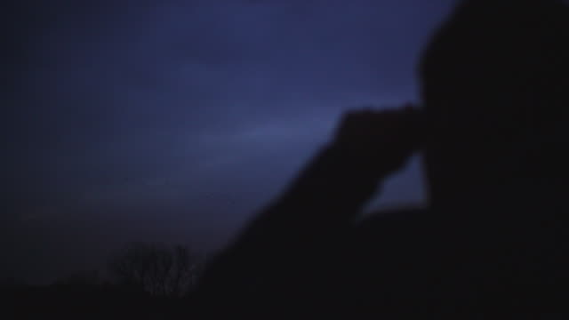 Nighttime silhouette of a man with binoculars watching as sandhill cranes fly through the night sky.
