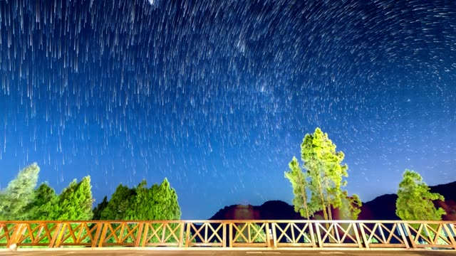 T/L Nighttime star trails over mountain and trees (static shot)