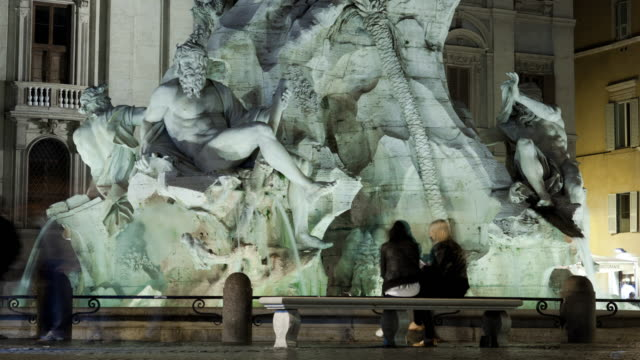 nighttime time-lapse of the fontana dei quattro fiumi in rome. - piazza navona stock videos & royalty-free footage