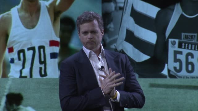 Nike CEO Mark Parker speaks at a Nike Conference