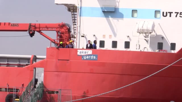 nikesh rastogi was stranded aboard the malaviya twenty which was moored at great yarmouth for 18 months. the indian sailor can now return home after... - gestrandet stock-videos und b-roll-filmmaterial