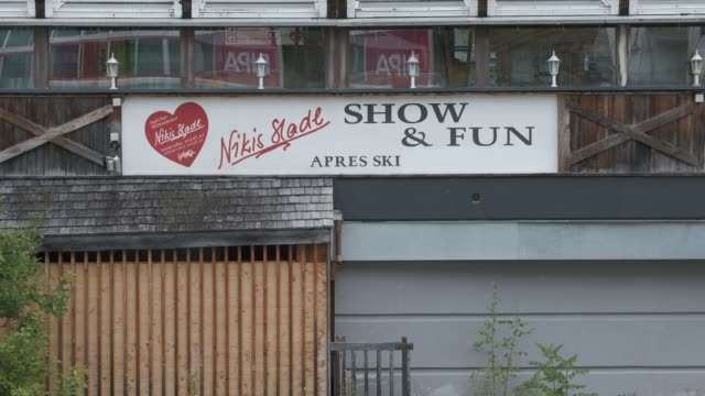 nikis stadl apresski bar and restaurant stands closed for the summer on september 10 2020 in ischgl austria ischgl became a superspreader locality... - ski holiday stock videos & royalty-free footage