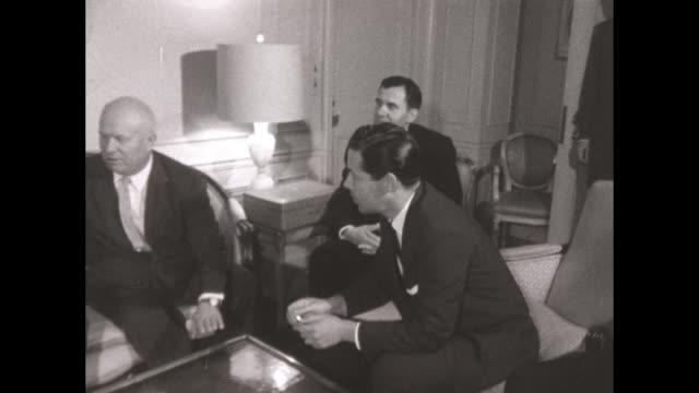 Nikita Khrushchev and UK PM Harold Macmillan meet at the Waldorf Astoria NYC