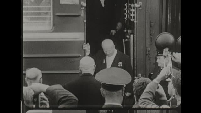 Nikita Khrushchev Arrives in East Berlin by Train to Huge Crowd