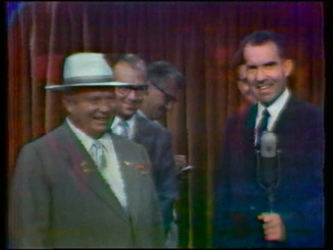 Nikita Khrushchev Richard Nixon having animated argument in 'Kitchen Debate' / Moscow