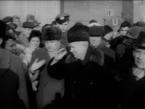 Nikita Khrushchev walking in crowd greeting people / East Berlin / Cold War