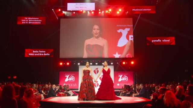 Nikki Bella and Brie Bella at the The American Heart Association's Go Red for Women Red Dress Collection 2019 at Hammerstein Ballroom on February 07...