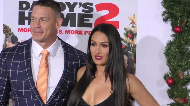 nikki bella john cena at the premiere of paramount pictures' 'daddy's home 2' on november 05 2017 in westwood california - westwood neighborhood los angeles stock videos & royalty-free footage