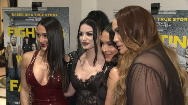 Nikki Bella Paige Brie Bella and Nia Jax at the Fighting With My Family Los Angeles Tastemaker Screening at The London on February 20 2019 in West...