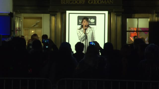 performance nikki james and broadway kids care at 2014 bergdorf goodman holiday window unveiling unicef snowflake lighting at bergdorf goodman on... - bergdorf goodman stock videos and b-roll footage
