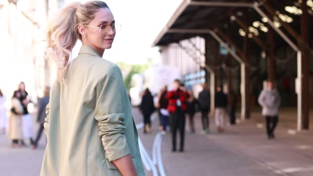 nikki phillips wearing balenciaga white t-shirt, asos suit and bottega veneta bag at afterpay australian fashion week 2021 on may 31, 2021 in sydney,... - bag stock videos & royalty-free footage