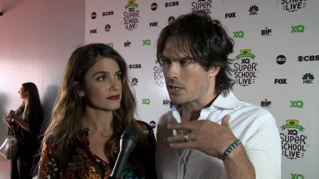interview nikki reed and ian somerhalder on what brings you out for the eif presents xq super school live telecast and on what is one thing you wish... - barker hangar stock-videos und b-roll-filmmaterial