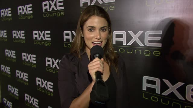 nikki reed give the axe lounge a shout out at the celebrities celebrate 4th of july at axe lounge in southampton at southampton ny - nikki reed stock videos and b-roll footage