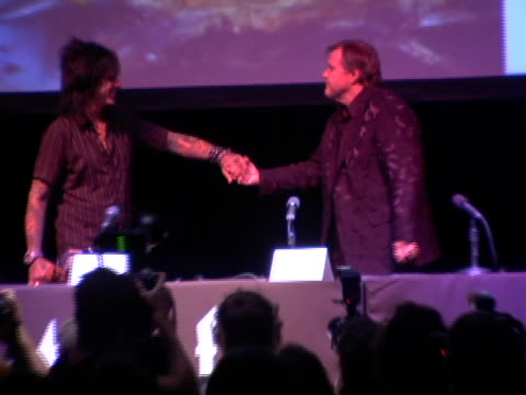 vídeos de stock e filmes b-roll de nikki sixx and marion raven are introduced at the press conference at the meat loaf bat out of hell iii the monster is loose listening party and... - atlântico central eua