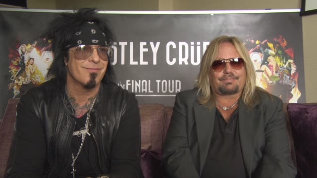 interview nikki sixx and vince neil on alice cooper being on the tour watching alice cooper on stage the motley crue film staying true to the book at... - vince neil stock videos and b-roll footage