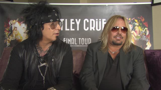 interview nikki sixx and vince neil on being on the road being less rock and roll touring lasting all this time being multi generational keep on... - vince neil stock videos and b-roll footage
