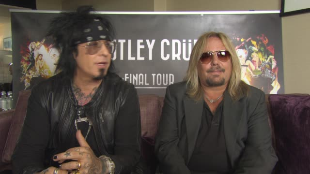 interview nikki sixx and vince neil on giving a true motley crue show violence new production at royal garden on june 10 2015 in london england - vince neil stock videos and b-roll footage