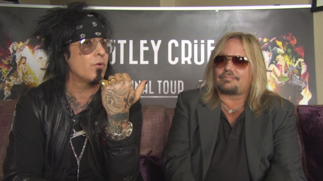 interview nikki sixx and vince neil on justin bieber not being rock and roll current artist fame wanting to be famous for life lip singing rock and... - vince neil stock videos and b-roll footage