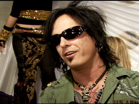 nikki sixx of motley crew on why he's at the event what he's working on at the 4th annual night with friends of el faro at the music box in hollywood... - crew stock videos & royalty-free footage