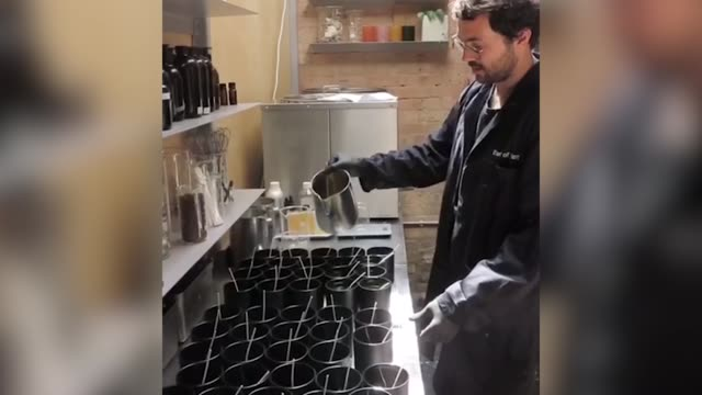niko dafkos from earl of east london creates the scented candles in the earl of east london studio. the project aims to capture the smell like the... - smelling stock videos & royalty-free footage
