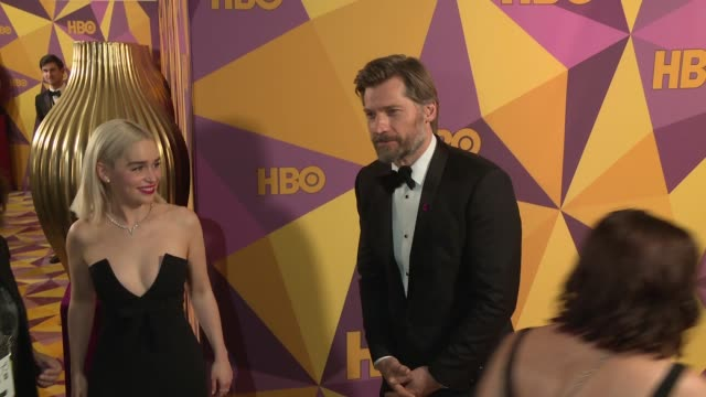 Nikolaj Coster Waldau and Emilia Clarke at the HBO Post Golden Globes Party at Circa 55 Restaurant on January 07 2018 in Los Angeles California
