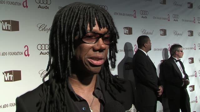 nile rodgers on supporting elton john on his musical and humanitarian achievements and on his fondest memory of elton john at the 14th annual elton... - vh1 stock-videos und b-roll-filmmaterial