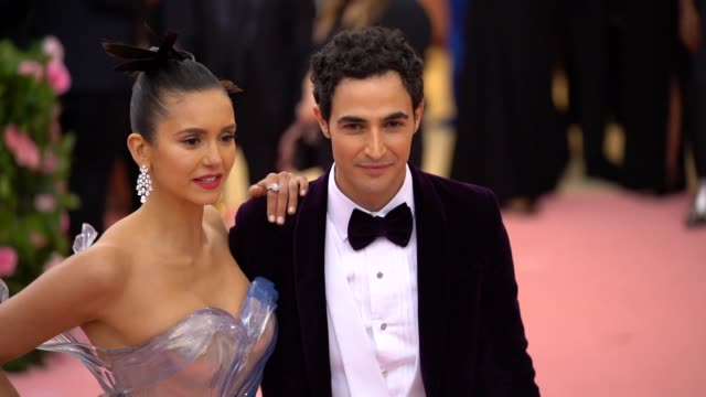 nina dobrev and zac posen at the 2019 met gala celebrating camp notes on fashion arrivals at metropolitan museum of art on may 06 2019 in new york... - met gala 2019 stock videos and b-roll footage