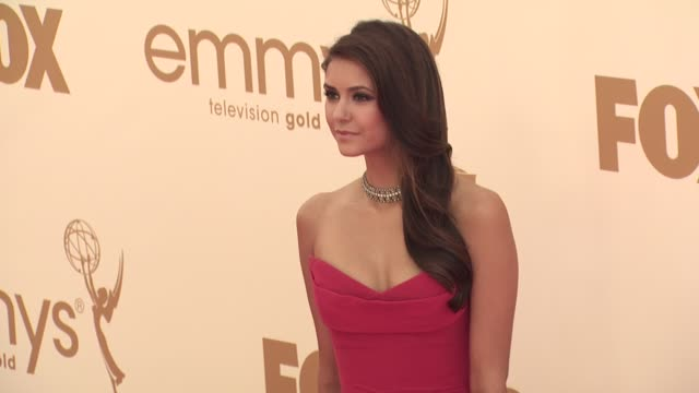 nina dobrev at the 63rd primetime emmy awards arrivals part 1 at los angeles ca - 63rd annual primetime emmy awards stock videos and b-roll footage