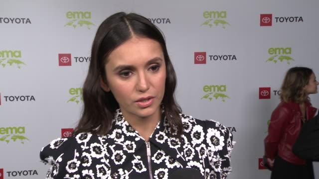 interview nina dobrev on the event at the environmental media association 2nd annual honors benefit gala in los angeles ca - nina dobrev stock videos and b-roll footage