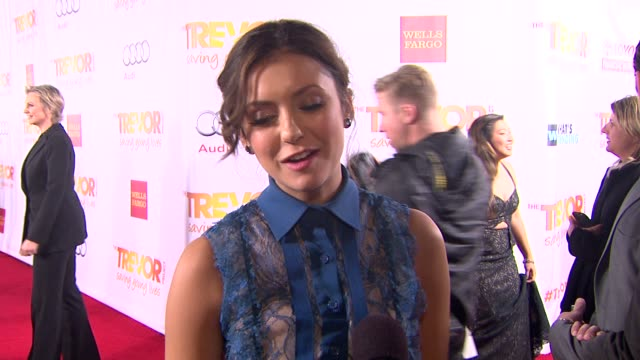 INTERVIEW Nina Dobrev on what brings her out why the work of the Trevor Project is so important and why Jane Lynch is deserving of the honor at...