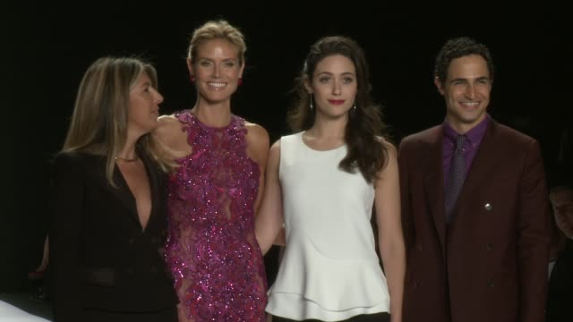 nina garcia heidi klum emmy rossum and zac posen walk the runway during project runway spring 2015 mercedesbenz fashion week at the theatre at... - heidi klum stock videos and b-roll footage