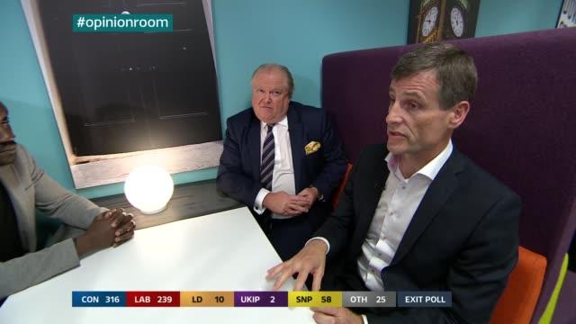 nina hossain interview with adam sharp sot disco on exit polls with ronan dunne sot lord jones sot and musa okwonga sot - ジュリー エッチンガム点の映像素材/bロール
