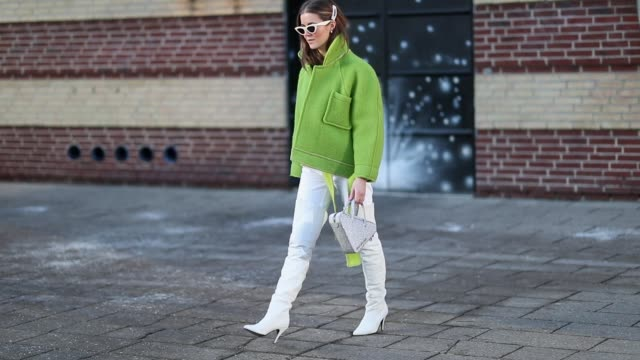 Nina Sandbech is seen wearing green jacket hair clip outside Blanche during the Copenhagen Fashion Week Autumn/Winter 2019 Day 1 on January 29 2019...