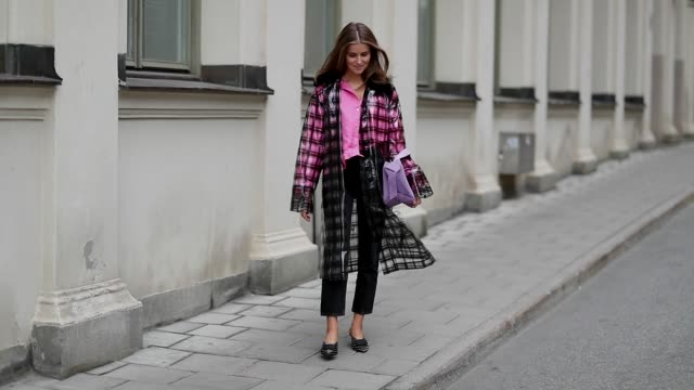 vídeos y material grabado en eventos de stock de nina sandbech wearing purple black checked coat on august 28 2018 in stockholm sweden - a cuadros