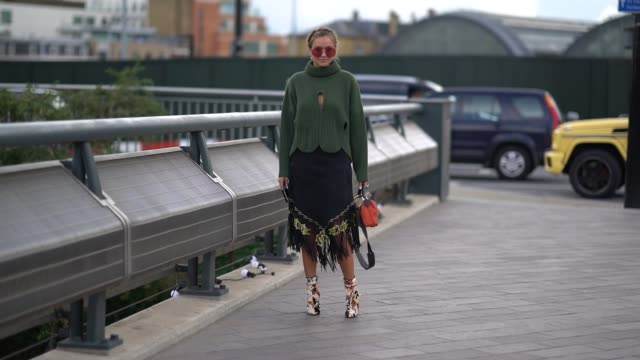 nina suess wears a green turtleneck pull over outside versus during london fashion week september 2017 on september 17 2017 in london england - turtleneck stock videos & royalty-free footage