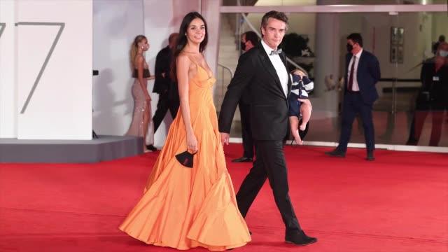 venice italy september 07 nina verdelli alessio boni and lorenzo boni walk the red carpet ahead of the movie revenge room at the 77th venice film... - gif stock videos & royalty-free footage